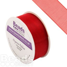 Red Organza Ribbon 19mm Sold on a 5 Metre Reel