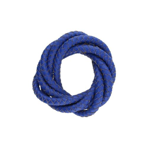 Leather cord / natural / round / braided / 4mm / deep blue / 1m