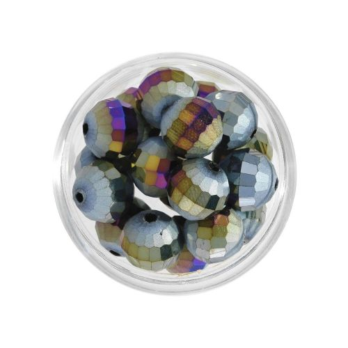 CrystaLove ™ / frosted / faceted glass crystals / round / 10mm / dark grey / opalescent / 10pcs