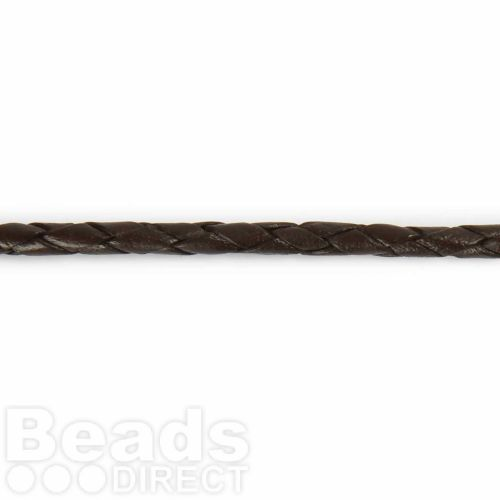 X-4mm Braided Leather in Brown Sold in pre cut 1 Metre Length