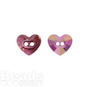 3023 Swarovski Crystal Button Heart 10.5x12mm Crystal Lilac Shadow Pk1