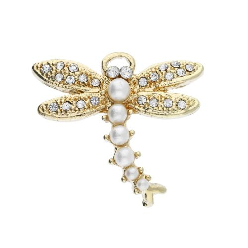 Glamm ™ Dragonfly / charm pendant / with zircons / 23x26x5mm / gold plated / crystal-pearl / 1pcs