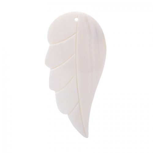"""X"" White Sea Shell Feather Hand Crafted Charm 26x57mm Pk1"