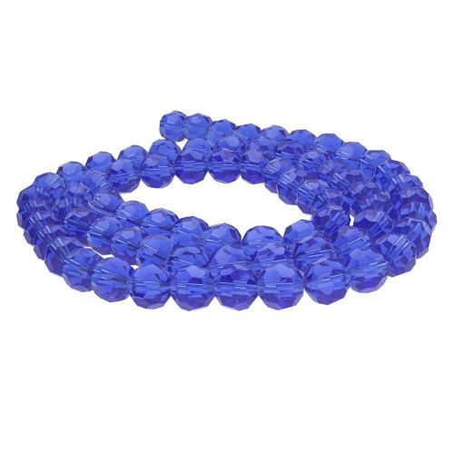CrystaLove™ crystals / glass  / faceted round / 8mm / blue / transparent / 65pcs