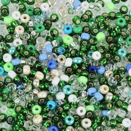 'Apple Green' Round Seed Bead Mix 10g
