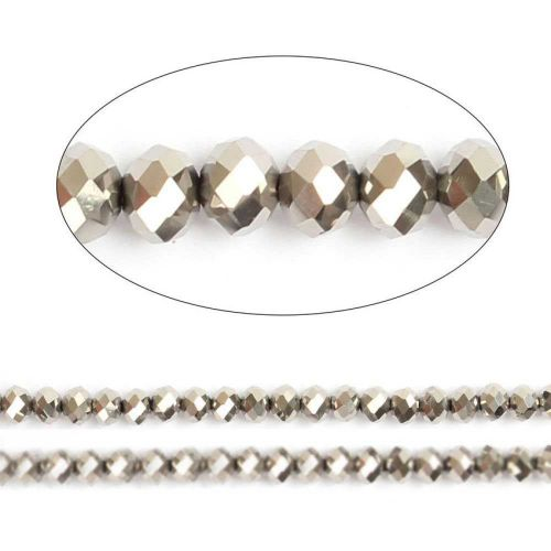 "X- Silver Full Coat Essential Crystal Glass Faceted Rondelle Beads 8mm 16""Strand"