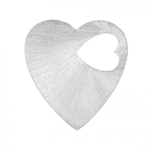 Silver Plated Brushed Filigree Heart Cut Out Pendant 29mm Pk2