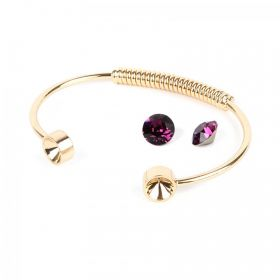 Gold Plated Coil Bangle Kit SS39 made with Swarovski Amethyst F Pk1