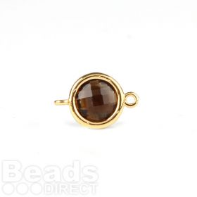 Smokey Quartz Faceted Glass Gold Plat Circle Connector Pk1