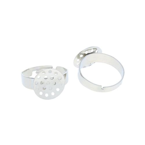 Ring base / adjustable / 13mm / diameter 2cm / silver / 4pcs