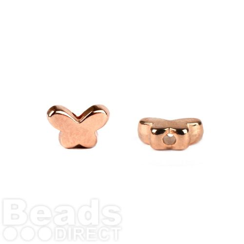 Rose Gold Plated Small Butterfly Beads 7x5mm Pk10