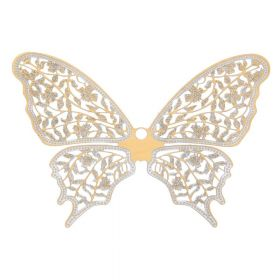 Butterfly / pendant filigree / surgical steel / 64x88mm / dark gold plated / 1pcs