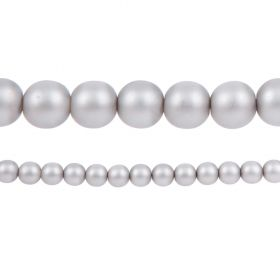 Grey Matte Czech Glass Round Pearl Beads 8mm Pk75