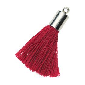 Tassel / viscose thread / silver end cap / 25mm / burgundy / 1pcs