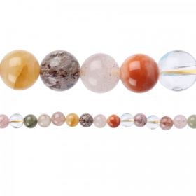 "Multi Colour Rutilated Quartz Round Beads 10mm 15""Strand"