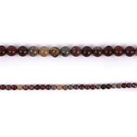 "Red Picture Jasper Round Semi Precious Beads 8mm 15"" Strand"