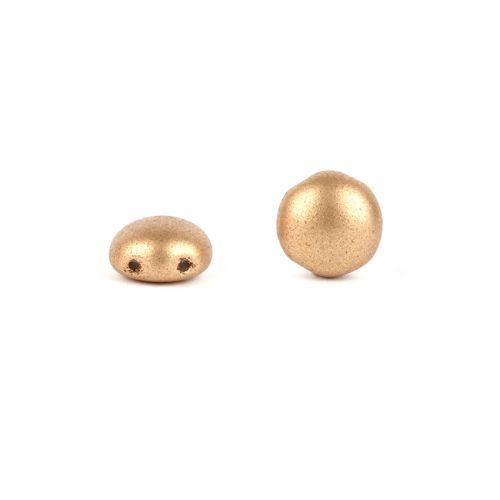 X-Preciosa Pressed Glass Candy Twin Hole Beads Frosted Gold 8mm Pk30