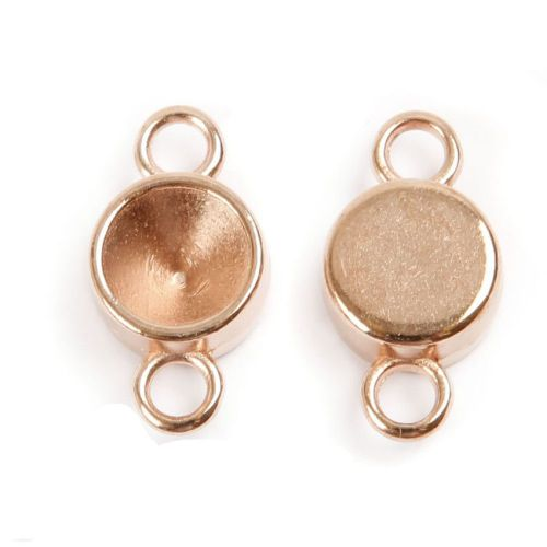 Rose Gold Plated Zamak Charm Setting Connector for 8mm SS39 Crystal Pack 2