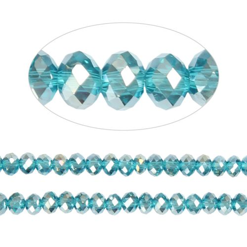 X- Essential Crystal Faceted 4mm Rondelle Aqua AB 150pack