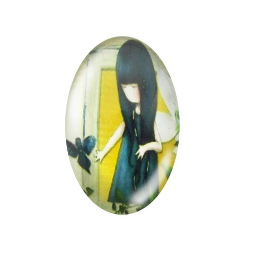 Glass cabochon with graphics oval 13x18mm PT1494 / yellow-navy blue / 2pcs