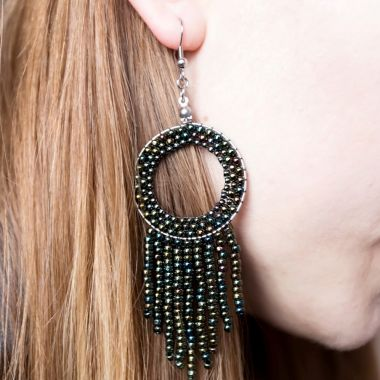 How to make earrings using a Geometric base and TOHO seed beads - video tutorial