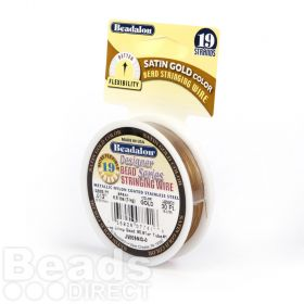 Beadalon 19 Strand Flexible Beading Wire 'Satin Gold' 0.012in 30ft