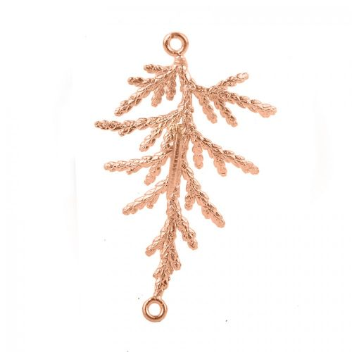 Rose Gold Plated Brass Fancy Leaf Connector 28x36mm Pk1