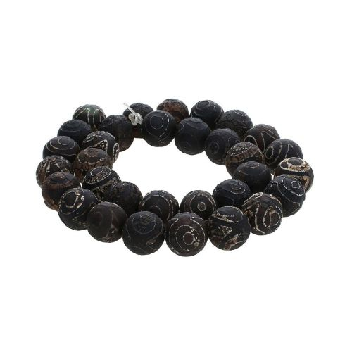 Tibetan agate / round / 12mm / black / 32pcs