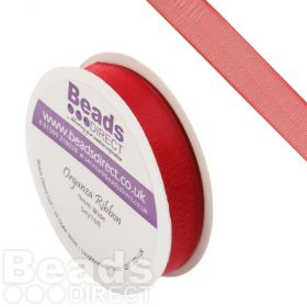 Red Organza Ribbon 9mm Sold on a 5metre Reel