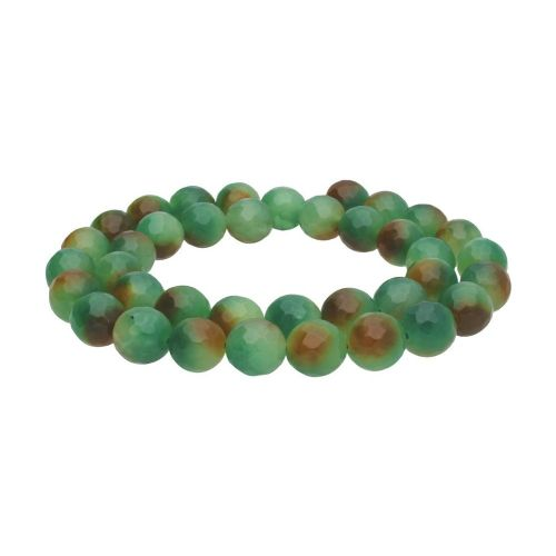Agate / faceted round / 10mm / green - brown / 44pcs