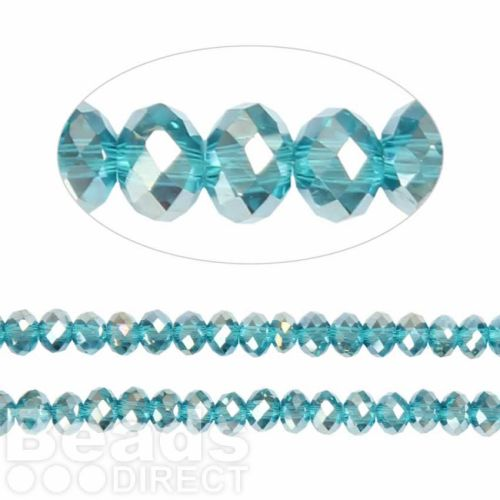 Essential Crystal Faceted 4mm Rondelle Aqua AB 150pack