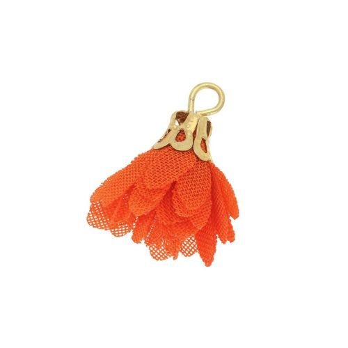 Tulle flower / with openwork tip / 18mm / Gold Plated / light red / 4 pcs