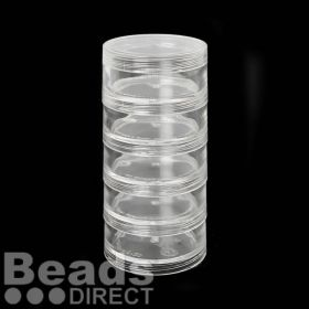 Clear Stackable Space Saver Jars 2x1-1/4in (25x45mm) Set of 5 with One Lid