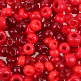 Preciosa Czech Glass Bead Mix Round Pony Style Red Tones 50g