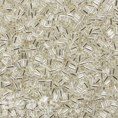 Toho Bugle Seed Beads Size 1 3mm Silver-Lined Crystal 10g