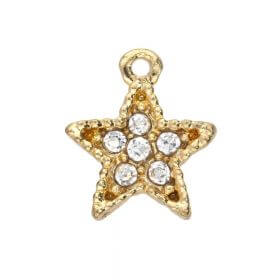 Glamm ™ Christmas / charm pendant / with zircons / 12x11x3mm / gold plated / 2pcs