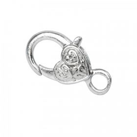 Silver Plated Large Heart Lobster Clasp Pk1