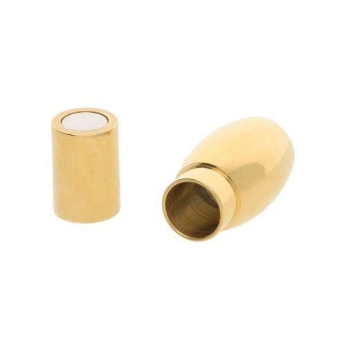 Magnetic clasp / surgical steel / olive / 18x7mm / gold / hole 4mm / 1pcs