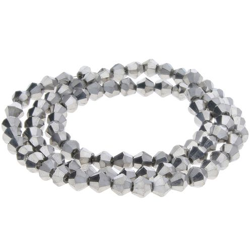 CrystaLove™ crystals / glass / bicone / 3mm / dark silver / lustered / 148pcs