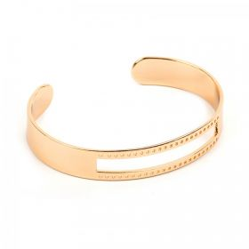 Gold Plated Brass Bracelet Base with Cut Out Centre & Small Holes 10x58mm Pk1