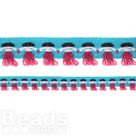 Teal Ribbon with Stitched on Pink/White Dolls 14mm 1metre