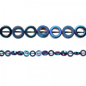 Blue Hematite Matt/Shiny Ring Beads 8mm 40cm Strand