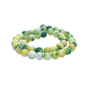 Jade / round / 6mm / green-yellow / 68pcs