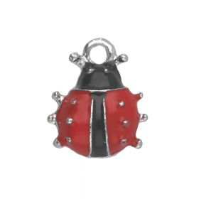 SweetCharm ™ Ladybird  / charms pendants / 12x10x3mm / silver plated / red / 2pcs