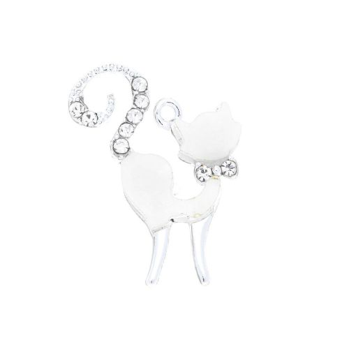 Glamm ™ Cat / charm pendant / with zircons / 25x18x2.5mm  / silver plated / white/ 1pcs
