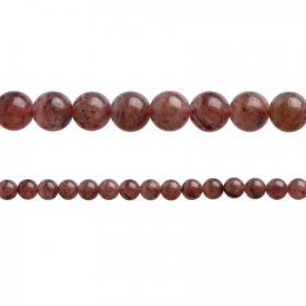 "Strawberry Quartz Semi Precious Round Beads 8mm 15"" Strand"