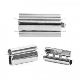 Silver Plated Beadslide Clasp Smooth Design 13x24mm Pk1