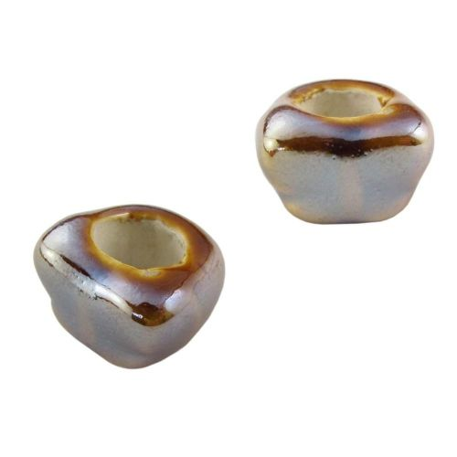 Ceramic beads / butterfly / 20x15mm / brown / iridescent / hole 10mm / 2pcs