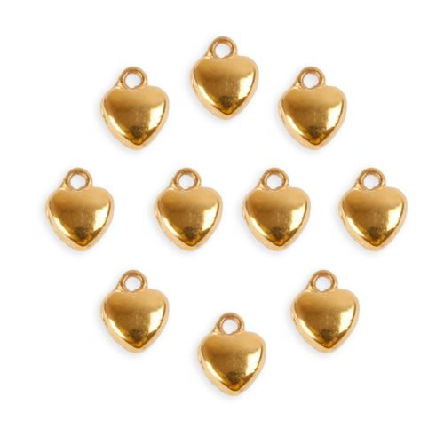x Gold Plated Heart Charms 5mm Pack 10