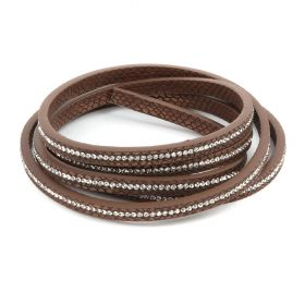 Brown Snakeskin Crystal Faux Leather Flat Cord 6mm Pre Cut 1metre